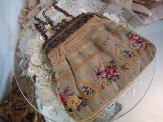 antique petit point purse
