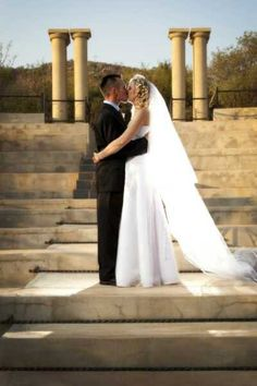 Sealed with a kiss on the steps of the Amphitheatre Game Lodge, Wine Parties, Funeral, Christening, Wedding Engagement, Kiss, Wedding Dresses, Bride Dresses, Bridal Gowns