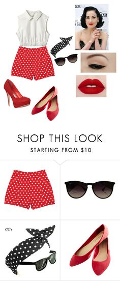 """""""Pin Up ('50s)"""" by thaisa-tcs ❤ liked on Polyvore featuring Dita Von Teese, Anatomy Of, Ray-Ban and Wet Seal"""