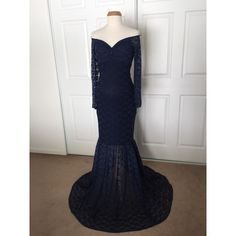 Navy Blue Lace Off Shoulders Long Sleeves Lining Maternity Gown... ($115) ❤ liked on Polyvore featuring maternity, black, dresses and women's clothing
