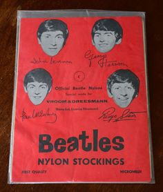 """Beatles Rare Nylon Stockings (I Looked at Other Photos, & They are """"Embroidered"""" Beatles at the Top of the Stocking.)."""