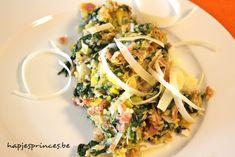Quinoasalade met prei, spinazie en pancetta is echt een super gezond en puur recept.