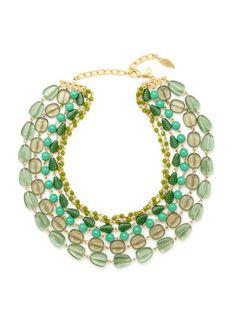 David Aubrey Gold & Glass Bead Multi Row Necklace