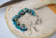 Turquoise and Silver Layered Chain and Charm Bracelet
