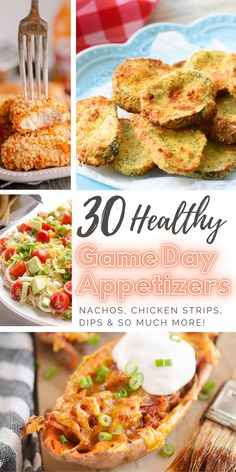 These Healthy Finger Foods include all the game day appetizers you need for your party or potluck. From nachos and Air Fried chicken strips to dips and lightened up pickle chips! Game Day Appetizers, Appetizers For A Crowd, Quick And Easy Appetizers, Easy Appetizer Recipes, Yummy Appetizers, Fried Chicken Strips, Tailgating Recipes, Party Food And Drinks, Game Day Food