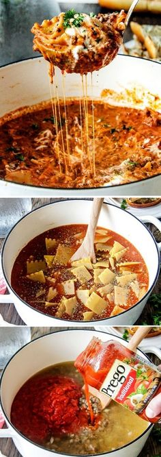 Easy One Pot Lasagna Soup Easy One Pot Lasagna Soup tastes just like lasagna without all the layering or dishes! Simply brown your beef and dump in all ingredients and simmer away! Soup Recipes, Crockpot Recipes, Dinner Recipes, Cooking Recipes, Healthy Recipes, Dinner Ideas, I Love Food, Good Food, Yummy Food