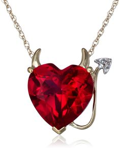 XPY 14k Yellow Gold Created Ruby Heart Devil Pendant Necklace with Diamond Accent - For That Little Bit Of Devil In All Of Us! - See it here-> http://jdtc.us/1x2kAD3