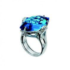 OLIVER WEBER RING SWING 925AG RHOD. BLUE - STERLING SILVER #ZbyAlikiVergidou