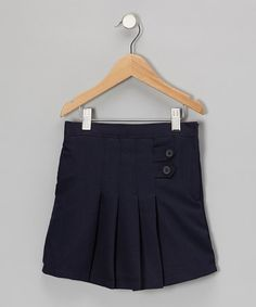 Take a look at this Navy Button-Front Pleated Skirt - Girls by Genuine School Uniform on #zulily today!
