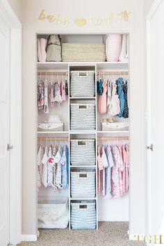 Nursery Build this gender neutral custom nursery closet on a budget - an easy DIY nursery project fo Baby Nursery Closet, Baby Nursery Diy, Nursery Room, Diy Baby, Baby Closets, Closet Bedroom, Girl Nursery Decor, Budget Nursery, Dresser In Closet