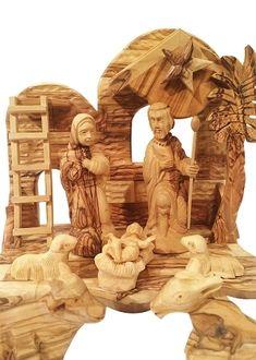 Holy Land Market Olive Wood Nativity Set Traditional Carving