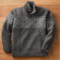 Charcoal Irish Celtic Wool Pullover | National Geographic Store