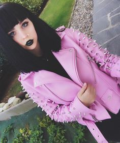 Pastel Goth Dreamz; Dahlia Studded Biker In Vegan Leather | SHOP KILLSTAR.com We Ship Worldwide!