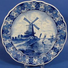 ♥ ~ ♥ Blue and White ♥ ~ ♥ Beautful Delft Blauw plate with a windmill scene and a slight scallop to its' edge, Blue And White China, Blue China, Love Blue, Red White Blue, Delft, Shades Of Dark Blue, Holland Windmills, Moroccan Blue, Good Morning Picture