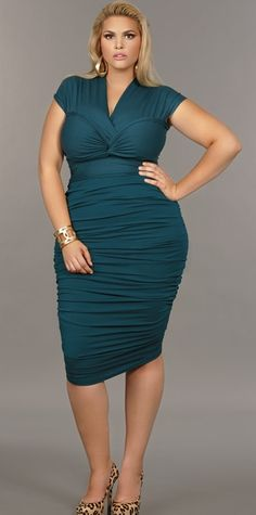 """""""Marilyn"""" Ruched Convertible Dress - Teal"""