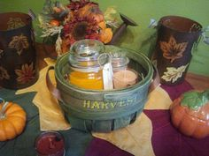 Make a Harvest basket with three different scents and your choice of waxes and candle containers.