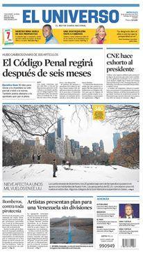 Portada de #DiarioELUNIVERSO del 18  de diciembre del 2013. Las noticias del día en: www.eluniverso.com