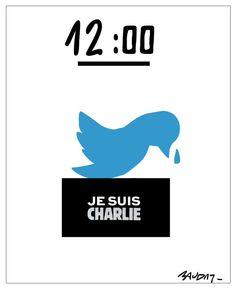 #SocialMedia #CharlieHebdo #JeSuisCharlie 12:00 La minute de silence sur Twitter  RT @hervebaudry @jallatte @UMPitre