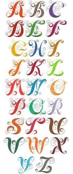 elegant curly monogram alphabet machine embroidery designs