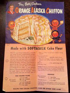 Betty Crocker's Orange Alaska Chiffon Cake from my Grammy's recipe box. 1950s Recipes, Retro Recipes, Old Recipes, Vintage Recipes, Cookbook Recipes, Snack Recipes, Snacks, Vintage Baking, Vintage Food