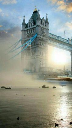 Tower Bridge with fog