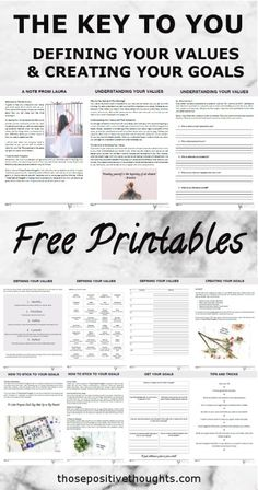 Free Printables. The Key To You, defining your values adn creating your goals. Goal Setting Guide.