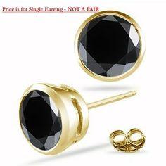 0 37 42 Cts Round Aa Black Diamond Mens Stud Earring In 14k Yellow Gold Vogati