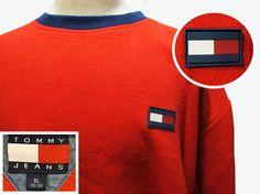 Vtg 90s Tommy Hilfiger Jeans Red Fleece Flag Sweatshirt Sweater Sz XL #TommyHilfiger #Crewneck #90s #streetstyle #urban #hiphop #90sfashion