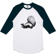 theIndie Skunks (Black) 3/4-Sleeve Raglan Baseball T-Shirt