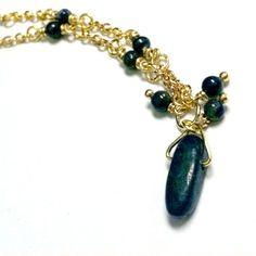 Navy Blue Lapis Necklace Stick Pendant Jewelry Gold by cdjali, $18.00