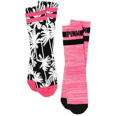 PINK Crew Sock ($13) ❤ liked on Polyvore featuring intimates, hosiery, socks, blue, print socks, patterned socks, cotton crew socks, crew socks and pink striped socks
