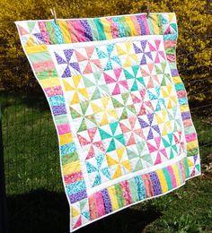 Spring Pinwheel Quilt Toddler Baby Girl Lap