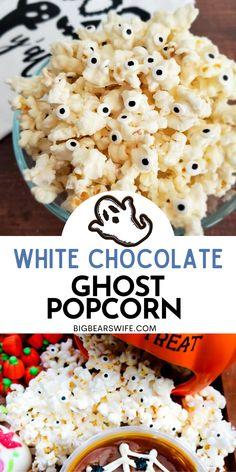 Ghost Popcorn - White Chocolate Popcorn - Perfect for Halloween Parties or Spooky lunch boxes, this Ghost Popcorn - White Chocolate Popcorn is easy to make and frightfully cute! Slow Cooker Recipes Dessert, Best Dessert Recipes, Fun Desserts, Fall Recipes, Easy Dinner Recipes, Great Recipes, Dessert Ideas, Chocolate Covered Popcorn, Chocolate Candy Melts