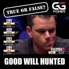 In 1998 the year poker movie 'Rounders' was released Matt Damon played the $10000 buy-in Texas Hold'Em championship event at the WSOP. Matt held pocket Kings and was knocked out by former world champ and poker legend Doyle Brunson who held pocket Aces. True or false? Answer correctly and win yourself some free tickets!  #rounders #mattdamon #wsop #doylebrunson #poker #ggpoker #trueorfalse #competition #freetickets #onlinepoker #tournament #1998 #goodwillhunting #hunting #shark #betting…