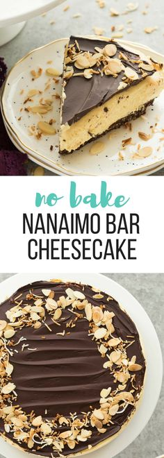 This No Bake Nanaimo Bar Cheesecake has all of the familiar flavors of the class., Desserts, This No Bake Nanaimo Bar Cheesecake has all of the familiar flavors of the classic Nanaimo bar but in an easy no bake cheesecake! No Bake Chocolate Desserts, Easy Desserts, Dessert Recipes, Chocolate Cheesecake Recipes, Nanaimo Bar Recipes, Easy Delicious Desserts, Coconut Desserts, Breakfast Recipes, Easy No Bake Cheesecake