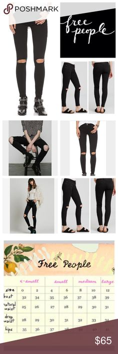 """Free People Destroyed Skinny Jeans.  NWT. Free People Destroyed Mid Rise Stretchy Skinny Jeans, 53% cotton, 23% rayon, 22% polyester, 2% spandex, machine washable, 28.5"""" waist, 8"""" front rise, 12.5"""" back rise, 27"""" inseam, 9"""" leg opening, tonal stitching, rips at knee, silver-tone hardware, five pockets, zip fly button closure, stretchy, fitted, belt loops, measurements are approx. NO TRADES Free People Jeans Skinny"""