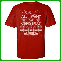 All I Want For Christmas Is Aurelia Ugly Sweater - Adult Shirt M Red - Holiday and seasonal shirts (*Amazon Partner-Link)