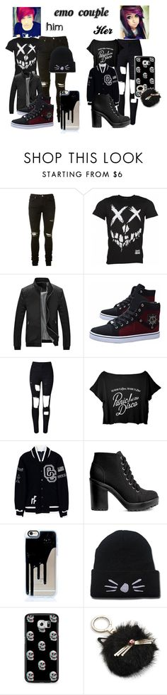 """Emo Couple"" by amberpamber11 ❤ liked on Polyvore featuring AMIRI, WithChic, Opening Ceremony, H&M, Samsung, Kate Spade, cute, outfit, black and emo"