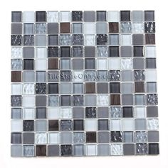 Glass and Metal Tile - 1 X 1 Glass and Metal Tile Mosaic - GI1001 Blue Gray Stainless Blend - Glossy, Frosted, Ripled, Metal * SAMPLE *