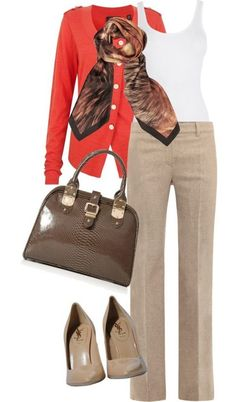Nude Pants and Orange Cardigan.  Do not care for the style of bag.