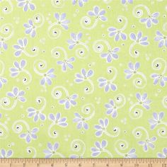 Bird's House Flowers & Stems Green/Periwinkle from @fabricdotcom  Designed for Susybee, this cotton print is perfect for quilting, apparel and home decor accents. Colors include purple, green and white.