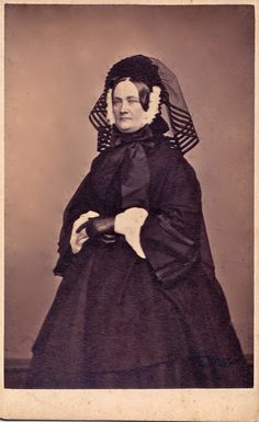 """Rhode Island Widow, Albumen Carte de Visite, Circa 1863  """"Frank Rowell, photographer, 25 Westminster Street, Prov. R.I."""" This photograph was used in """"Widow's Weeds and Weeping veils: Mourning Rituals in 19th Century America"""" by Bernadette Loeffel Atkins."""