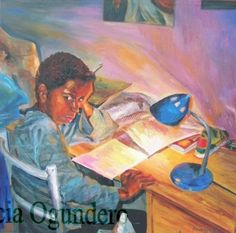 Lighten Up, it's just homework]Oil Painting on Canvas by Patricia Ogundero