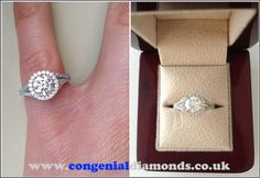 A diamond halo solitaire engagement ring - a vintage look with a lot of sparkle :) Similar style can be viewed at http://www.congenialdiamonds.co.uk/engagement-rings/vintage-engagement-rings.html