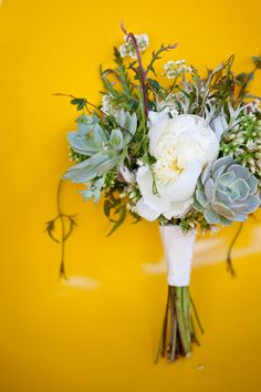 succulents and whites wedding bouquet from BashPlease.blogspot.com
