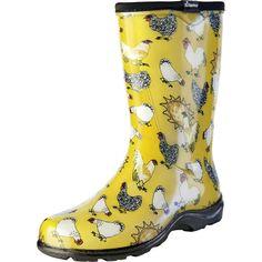 Sloggers 5016CDY06 Yellow Chicken Women's Rain & Garden Boot
