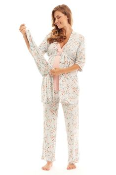 8f77ee7b5e2ea Analise 5-Piece Mom and Baby Maternity and Nursing PJ Set (Cloud Blue)