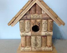 Wine cork and wood wooden birdhouse bird house handmade with real wine cork.
