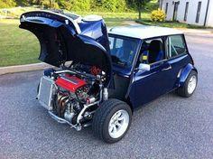 Mini with a B series Honda motor and AWD.This is NOT your mamma's mini! Mini Cooper Classic, Classic Mini, Classic Cars, Vw Cabrio, Automobile, Rm 1, Honda Motors, Mini S, Modified Cars