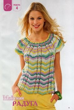 Maglietta estiva lavorata all'uncinetto, punto zig-zag; ma èla scelta azzeccata dei colori che li dà quell'effetto particolare. Voi che ne pensate?